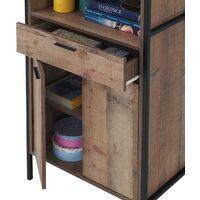 Stretton Tall Storage Kitchen Pantry Sideboard Cabinet Rustic Industrial Oak