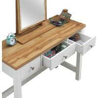 Astbury 3 Drawer Dressing Table Vanity Makeup Desk White and Oak