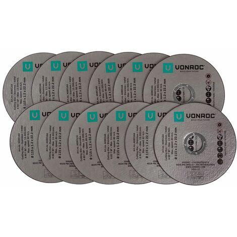 Discos de corte universales de VONROC - 115mm - 12 piezas - acero y acero inoxidable