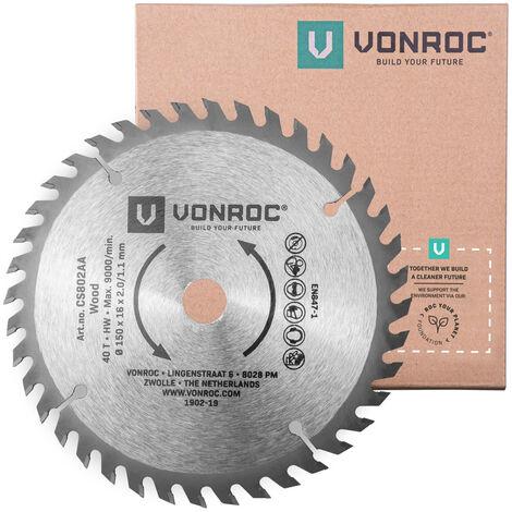 Hoja de sierra circular VONROC 150 x 16 x 2,0/1,1mm - 40 dientes - apta para madera - universal