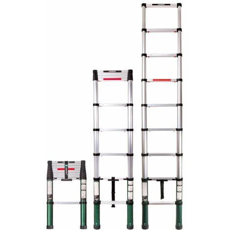 VONROC Escalera telescópica profesional de 2,6 metros, según certificación DEKRA y EN 131, muy robusta y montada para su seguridad - con sistema Softclose