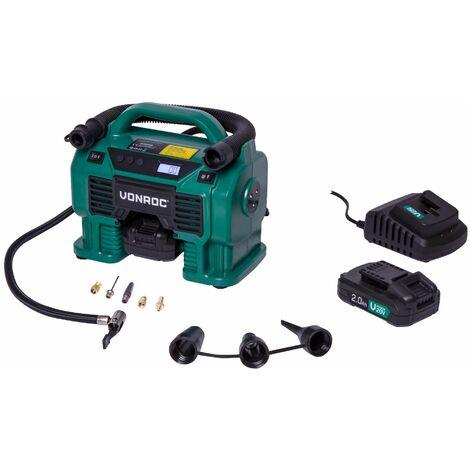 VONROC Compresor inalámbrico VPower 20V - Batería de 20V y enchufe para encendedor de cigarrillos de 12V - Función de inflado y desinflado - Presión máxima de funcionamiento 11 bar - Incluye 8 accesorios - Incluye 2 baterías de 2.0Ah y cargador