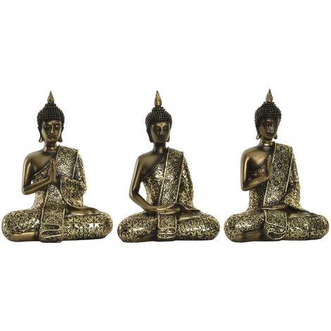Figura de Buda dorado para decoración. Diseño Wabi Sabi Zen 14.5 x 19.5 cm- Hogar y más. B