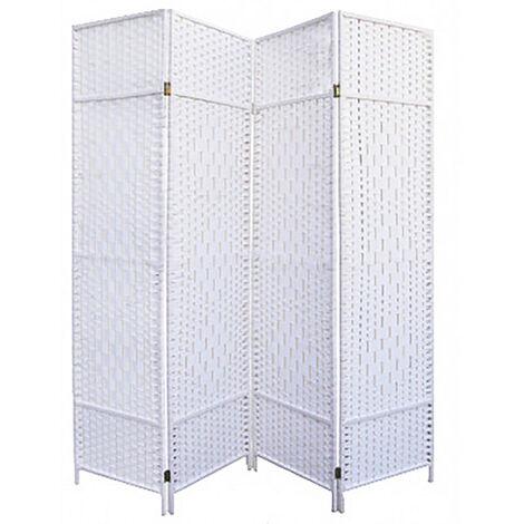 Biombo Blanco Bambú Natural 180 cm, Biombo Separador de Ambientes/ Vestidor. 4 Paneles 180x180cm