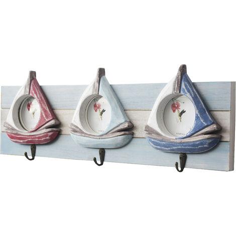 Perchero Pared de Madera para Fotos, 3 Ganchos. Recibidor/Dormitorio, Diseño velero 54x19x5 cm