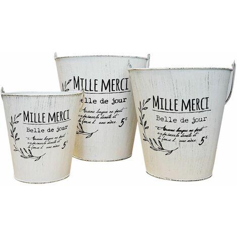 """MACETERO CUBO VINTAGE FRANCÉS """"MILLE MERCI"""" SET 3"""