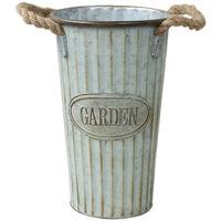 Macetero alto de metal Vintage pátina verde Garden - Hogar y Mas