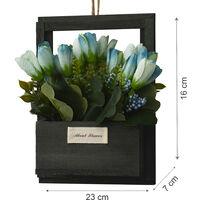 Flores Artificiales para Jardín con Macetero Negro de Madera Natural, Flores Azules Decorativas Vintage 23x7x16 cm