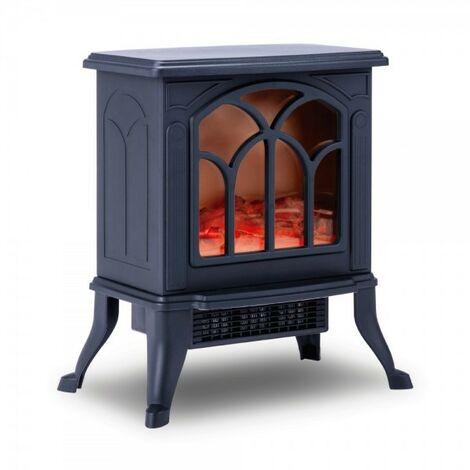 NEWTECK Chimenea Eléctrica Classic Flame,Calefactor CerámicoTermoventilador Llama Decorativa, Portátil,2 Niveles,750/1000W