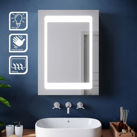 ELEGANT Illuminated LED Bathroom Mirror Cabinet Stainless Steel Wall Storage, Mirror with Lights and Sensor Switch, 500 x 700mm with Demister Pad