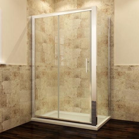 Modern Sliding Shower Cubicle Door Bathroom Shower Enclosure 1500 x 800 mm with Side Panel