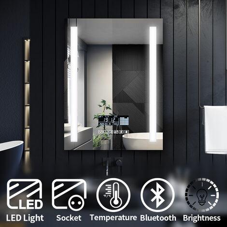 ELEGANT Modern LED Illuminated Bathroom Mirror with Light 600x800mm Anti-Fog Clock Function Bluetooth Audio Shaver Socket, Touch Control