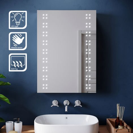 ELEGANT 500x700mm Illuminated LED Mirror Cabinet Stainless Steel Wall Storage Vertical Rectangle Bathroom Mirror Lights Sensor Switch with Demister Pad