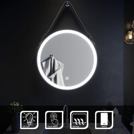 ELEGANT 600x600mm Belt Decorative Round Illuminated LED Light Bathroom Mirror Makeup Mirror with Sensor Touch control, Dustproof & Anti-fog,Cool White Light