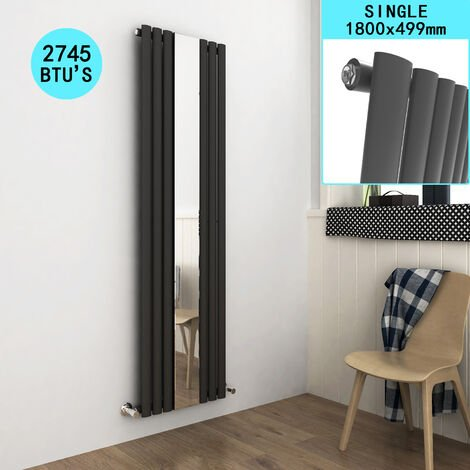 ELEGANT Central Heating Vertical Mirror Radiator Designer Oval Column 1800 x 500 mm Panel Central Heating Radiators Anthracite