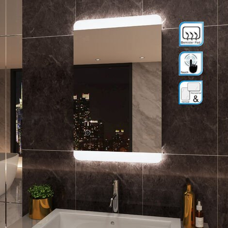 ELEGANT Bathroom Mirror 800 x 500 mm Illuminated LED Mirror with Sensor Switch and Demister
