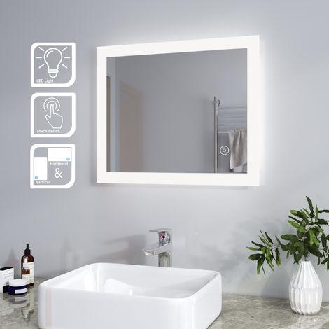 ELEGANT Mirror 600 x 500 mm LED Illuminated Bathroom Mirror Light Touch Sensor Horizontal Vertical