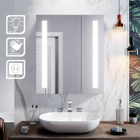 ELEGANT Illuminated Bathroom Mirror Cabinet with Light + Shaver Socket Wall Mounted LED Mirror with Shelf 600mm