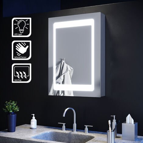 ELEGANT Illuminated LED Mirror Cabinet with Lights with Sensor Switch and Demister Pad Stainless Steel Wall Mount Storage Unit