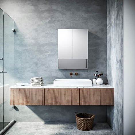 ELEGANT Silver Double Mirror Wall Mounted Cabinet, 800 x 600 mm Stainless Steel Bathroom Wall Cabinets 2 Door with 3 Shelves