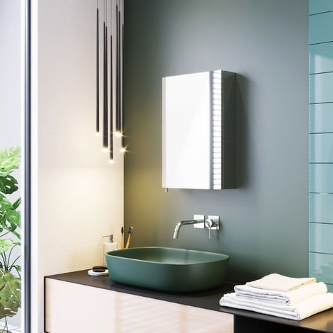 ELEGANT Stainless Steel Bathroom Mirror Cabinet Wall Mounted Storage Cabinets Single Door with 3 Shelves 600 x 400 mm
