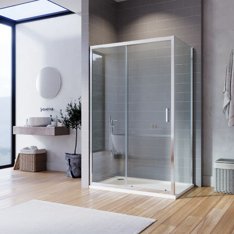 ELEGANT Sliding Corner Shower Enclosure Cubicle 1000 x 700 mm with Shower Tray and Waste Safety Glass Reversible Shower Door