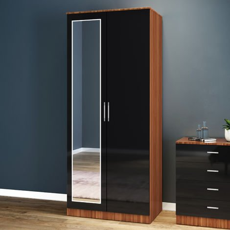 ELEGANT Modern High Gloss Soft Close 2 Doors Wardrobe with Metal Handles Includes a removable hanging rod and storage shelves Black/Walnut, with Mirror