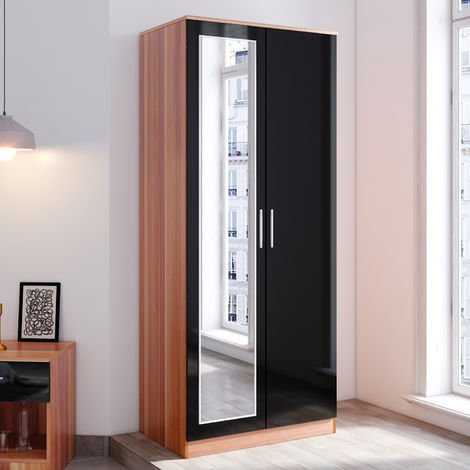 ELEGANT Modern Soft Close 2 Doors Wardrobe with Mirror and Metal Handles Includes a removable hanging rod and storage shelves, Black/Walnut