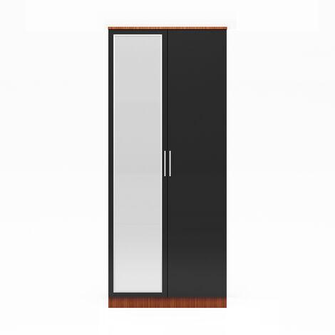 ELEGANT Modern High Gloss Wardrobe and Cabinet Furniture Set 2 Doors Wardrobe only, with Mirror, Black/Walnut
