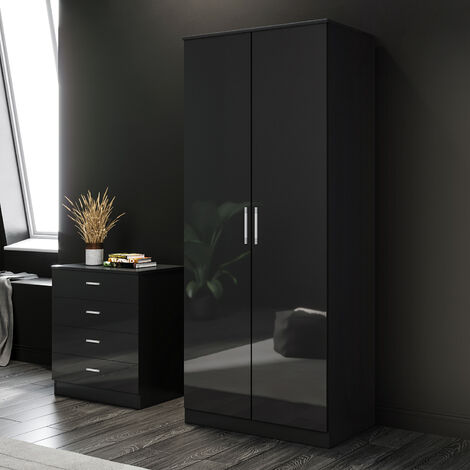 ELEGANT Black Modern High Gloss Soft Close 2 Doors Wardrobe with Metal Handles Includes a removable hanging rod and storage shelves