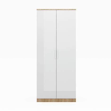 ELEGANT Modern High Gloss Wardrobe and Cabinet Furniture Set 2 Doors Wardrobe only, White/Oak