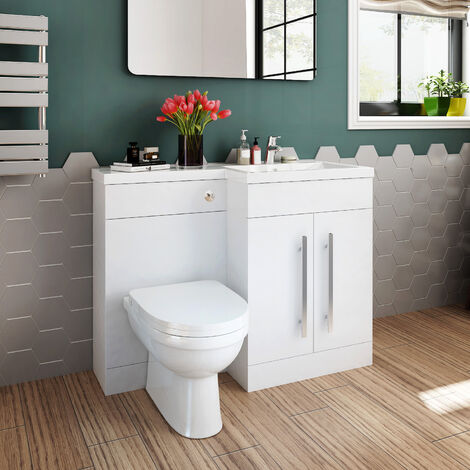 ELEGANT 1100mm L Shape Bathroom Vanity Sink Unit Furniture Storage,Right Hand High Gloss White Vanity unit + Basin + Ceramic D shaped Toilet with Concealed Cistern