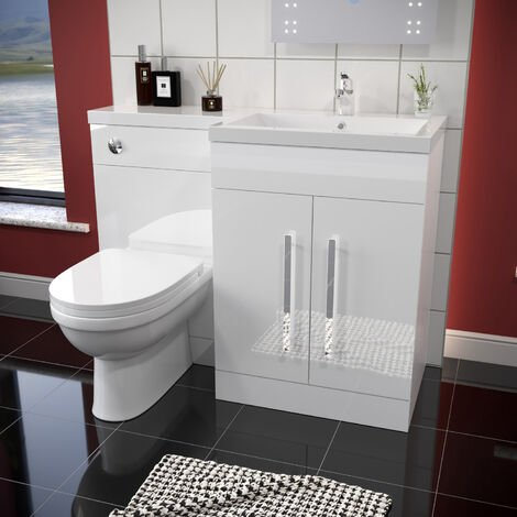 ELEGANT 1100mm L Shape Bathroom Vanity Sink Unit Furniture Storage,High Gloss White Vanity Unit with Concealed Cistern + Basin with Ceramic D shaped Toilet Right Hand