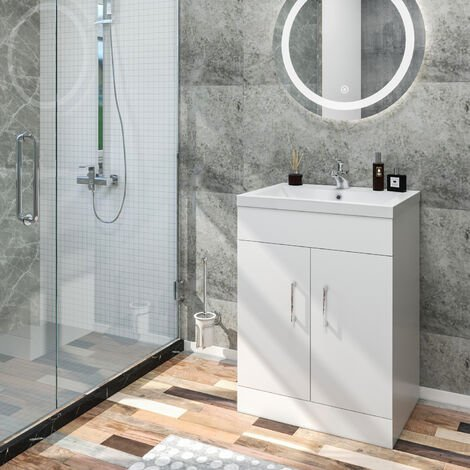 ELEGANT 595mm Vanity Sink Unit with Vitreous Basin, Floor Standing Vantiy Cabinet with Sink, White Matte Painted Bathroom Vanity Storage with 2 Shelves