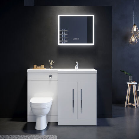 ELEGANT 1100mm Bathroom Vanity Sink Unit Storage,High Gloss White Vanity Unit + Basin + Concealed Cistern with Ceramic D shaped Toilet Right Hand