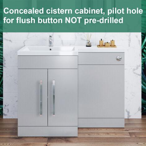 ELEGANT 1100mm Bathroom Vanity Sink Unit Furniture Storage, Left Hand Matte Grey Vanity unit + Resin Basin + Concealed Cistern