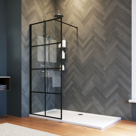 ELEGANT 800mm Walk in Shower Door Wet Room, Reversible Shower Screen Panel 8mm Safety Glass, Matte Black Walkin Shower Enclosure Cubicle with 1100x760mm Shower Tray