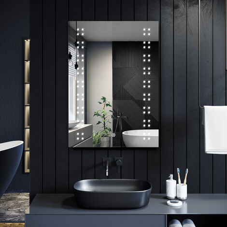 ELEGANT 500 x 700mm Modern LED Illuminated Vertical Bathroom Mirror Lights Touch Control Switch with Demister Pad + Shaver Socket