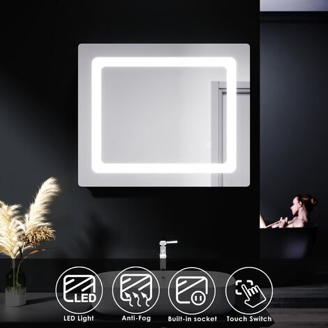 ELEGANT Illuminated LED Bathroom Mirror Lights Shaver Socket Wall Mounted Mirror with Touch Switch Demister Pad 600x500mm