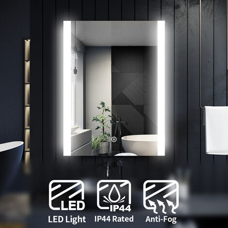 ELEGANT Illuminated LED Bathroom Mirror Light Touch Sensor 800 x 600mm with Demister