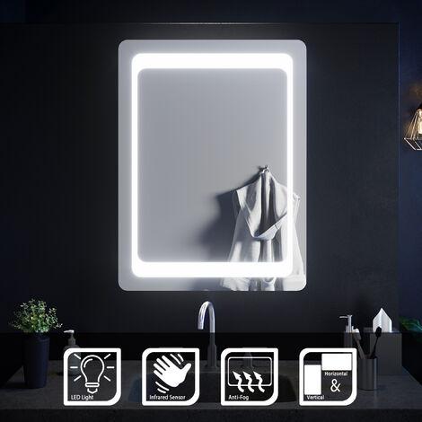 ELEGANT Illuminated LED Bathroom Mirror Light Sensor + Demister 800 x 600 mm