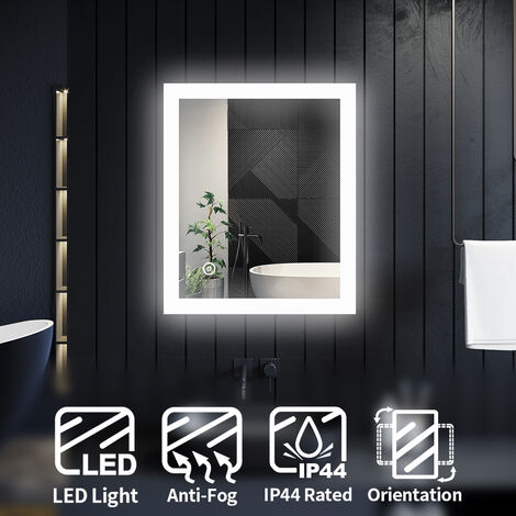ELEGANT LED Illuminated Bathroom Mirror Light Touch Sensor 600 x 500 mm