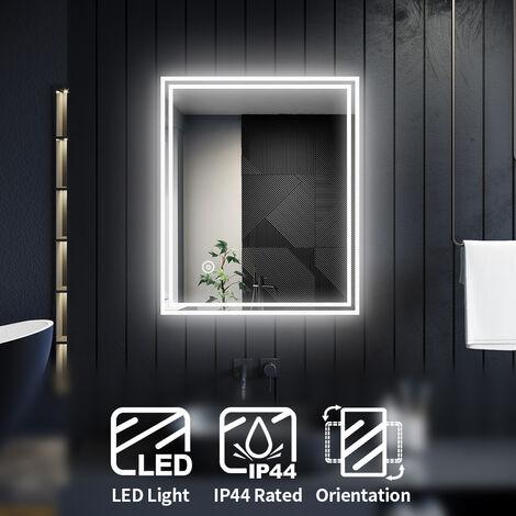 ELEGANT Horizontal Vertical Illuminated LED Bathroom Mirror Lights Touch Sensor 600 x 500 mm