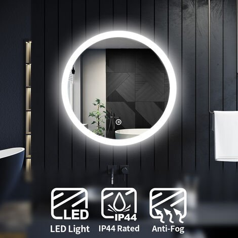 ELEGANT Modern Round Illuminated LED Bathroom Mirror Touch Sensor + Demister 600 x 600 mm