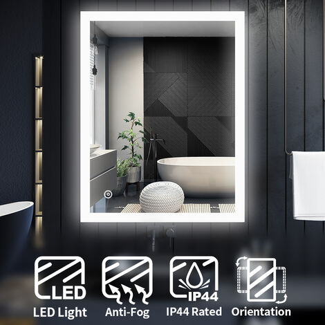 ELEGANT LED Illuminated Bathroom Mirror Light Touch Sensor 900 x 700 mm + Demister