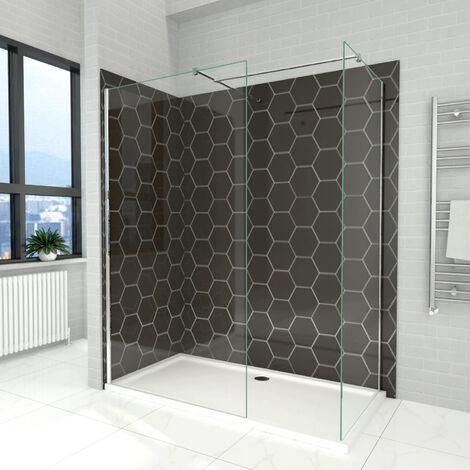 Elegant 760mm Walk in Shower Screen + 700mm Walk in Shower Screen, 6mm Tougheded Safety Wet Room