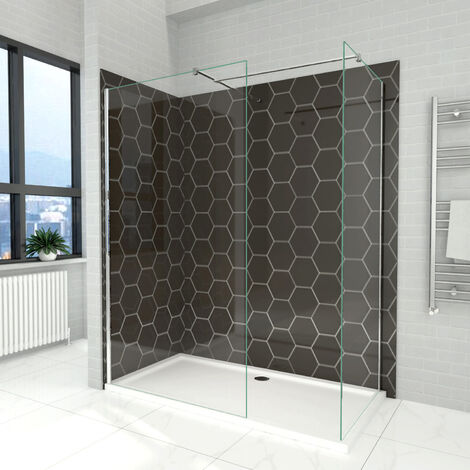 Elegant 800mm Walk in Shower Screen + 700mm Walk in Shower Screen, 6mm Tougheded Safety Wet Room
