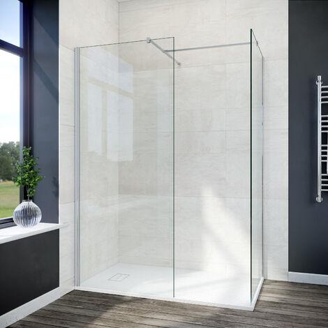 ELEGANT 700mm Walk In Shower Screen + 700mm Side Panel+ 1200x700mm Anti-Slip Resin Shower Tray, 8mm Easy Clean Glass Screen Panel