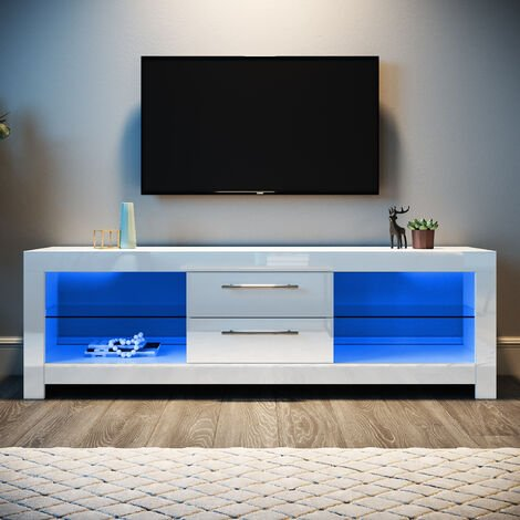 ELEGANT White TV Unit High Gloss TV Cabinet Stand 1600mm with LED Lights TV Unit with Storage TV Stand Television Stand
