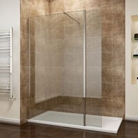 ELEGANT 1100mm Frameless Wet Room Shower Screen Panel 8mm Easy Clean Glass Walk in Shower Enclosure with 300mm Return Panel and Support Bar